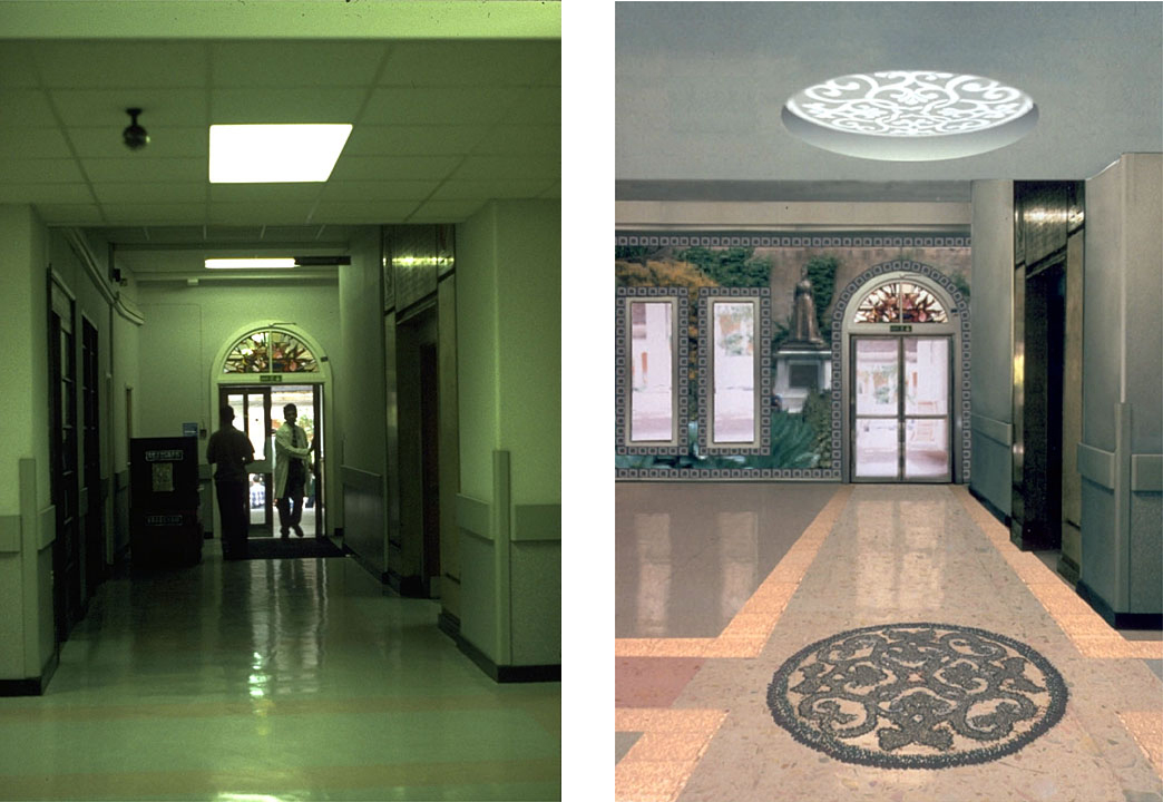 A welcoming change hallway before and after