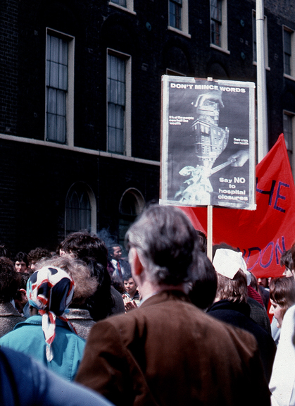 Poster in use at a demonstration